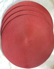 Round Plastic Woven Placemats Table - Dining - Set of 4 Dark Red 15 inches