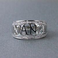 Zircon Rose Gold Silver Ring Simple Rhinestone GRANDMA&NANA Jewelry Gift Sz 6-12