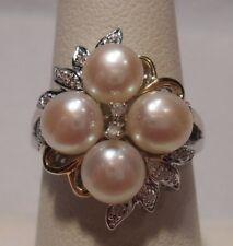 Alwand Vahan~Freshwater Pearls & Diamonds 14K Gold, 925 Sterling Silver Ring 7