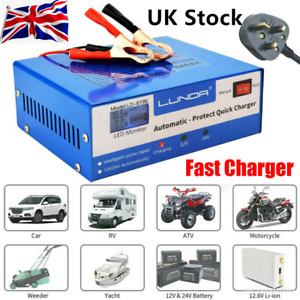12V/24V 10A Car Battery Charger Automatic Intelligent Recognition Pulse Repair