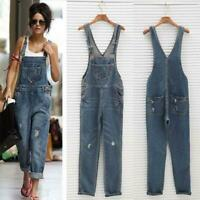 Womens Jumpsuit Romper Ripped Dungarees Jean Overalls Casual Demin Long Pants