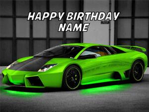 Green Lamborghini Lambo Car Edible Image Cake Birthday Topper Party 1/4 Sheet