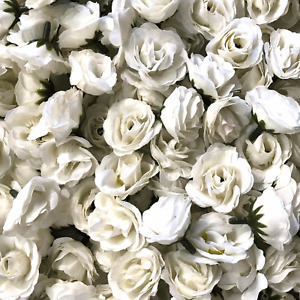 Artificial Silk Flower Heads - White Rose Style 112 - 5 Pack