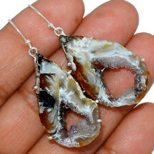 12g Oco Geode Druzy - Brazil 925 Sterling Silver Earrings Jewelry AE161602