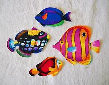TROPICAL FISH  LARGE  COTTON IRON ON FABRIC APPLIQUES    #52