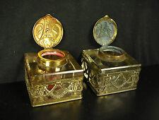 Jolie paire d'encriers XIX aux boucs en cristal 725g + 757g pair of inkwells