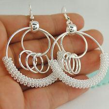 Silver Ring Vintage Bohemian Boho Style Big Hollow Round Drop/Dangle Earrings