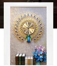 Art makeup peacock living room luminous quartz electronic watch clock Wall Deco