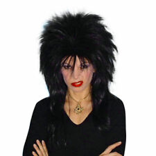 1980's Spiky Punk Vamp Black Deluxe Wig Mullet Styled Costume Wig