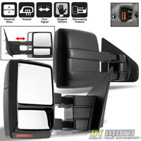 Left+Right 2007-2014 Ford F150 Power+Heated+Signal+Puddle Telescoping Tow Mirror
