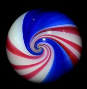 """SAMMY HOGUE GLASS MARBLE/1.330""""-HOGUE PEPPERMINT-2 WIDE ROYAL,WHITE,& MAGENTA"""