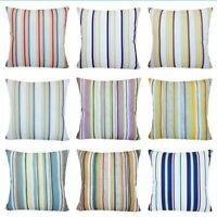 "Striped Velvet Stripe Pillow COVER Home Decor Soft Farmhouse Cushion Case 18x18"""