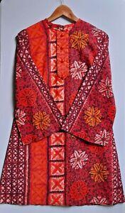 Vintage Barkcloth Dress 60's MOD SHIFT Bell Sleeves FLORAL Tapa Pattern Size 10