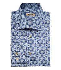 Pal Zileri Sartoriale Men's Blue Patterned Cotton Silk Dress Shirt Regular fit