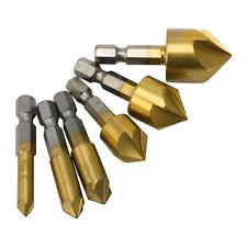 6Pcs 6mm-19mm 1/4 Hex Shank HSS 5 Flute Countersink Drill Bit Set 90 Degree new