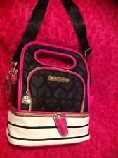 Betsey Johnson  Quilted  Lunch  Box Insulated Tote Black NEW pink stripes NWT