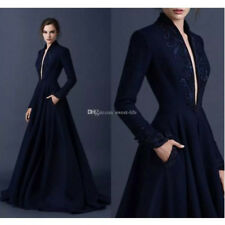 Navy Blue Ball Gown Long Sleeve Satin Evening Dresses Cocktail Prom Gown Custom