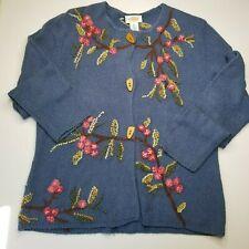 Talbots Floral Knit Cardigan Sweater Silk Blend Blue Size XL