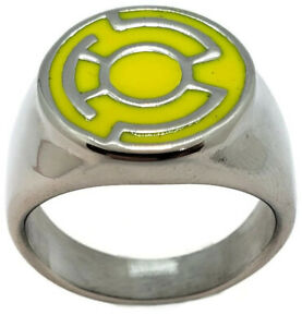Yellow Lantern Ring made from Stainless Steel Fear Sinestro Corps Sizes 5-16