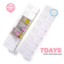 7 Day Pill Braille Box Holder Weekly Medicine Storage Organizer Container Case