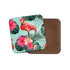 Pink Tropical Flamingo Drinks Coaster - Flowers Lotus Palm Trees Fun Gift #8620