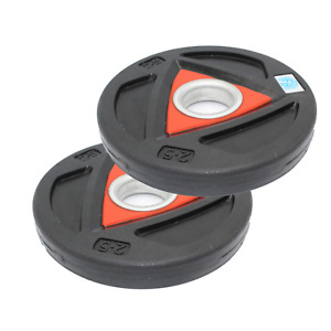 2.5kg Black Olympic Rubber 2Inch Plates by Fitness Health
