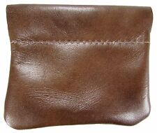 New Leather Squeeze Coin Pouch USA Made, Distressed Brown