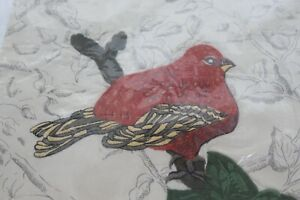 """Pottery Barn Pillow Cover Sham Embroidered Red Bird 18"""" Square"""