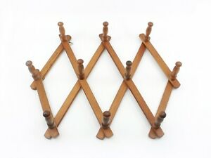 Wooden Accordion Folding Wall Hanger - 10 Pegs - Made in Japan