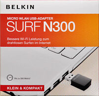 Belkin Surf + Wireless Micro USB Adapter Wi-Fi Dongle 300Mbps  Windows 10 8 7