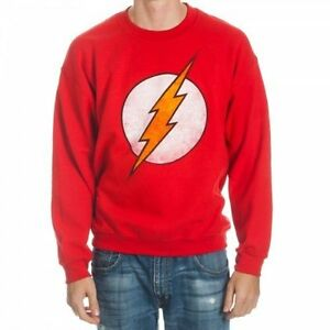 DC The Flash Logo Red Crew Neck Sweater Size M, L, 2XL