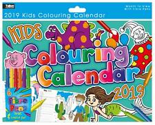 2019 Kids Colouring Calendar With 6 Fibre Pens Planner Month To View Activity