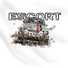 Mk1 ESCOLTA RALLYS Rac Ganador FORD Retro Coche De Carreras Camiseta blanca