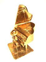 "Music Box Piano Man Grand Piano ENTERTAINER Metal Brass Copper Trinket 7""x6"""