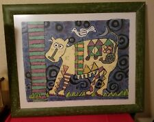 Amazing Signed and Numbered Abstract Cow and Egret Painting