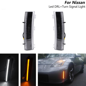 Smoked Led 370Z Style Switchback DRL Turn Signal Light For Nissan 350Z 2006-2009