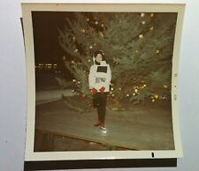 Vintage 70s PHOTO Asian Woman Red Glove Socks Posing With Outdoor Christmas Tree
