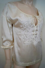 DKNY PURE Cream Sheen 100% Silk Floral Detail Front Scoop Neck Blouse Top Sz:2