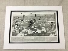 1856 Antique Print Japanese Painting Province of Japan River Crossing