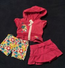 Build A Bear 3-Piece Pink White Rainbow Smurfette Hoodie Legging Pant Set Outfit
