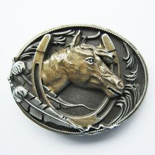 NEW HORSE GOLD WITH HORSESHOE RODEO WESTERN BELT BUCKLE