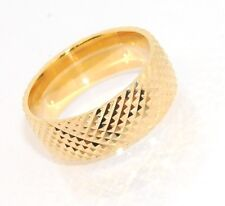 Technibond SOLID BAND RING Textured 14K Yellow Gold Clad Silver 925 Size 8