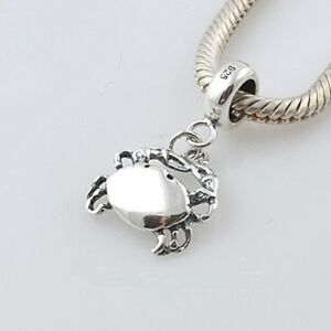 CRAB-Cancer-Stars-Zodiac- Solid 925 sterling silver European charm bead/ Pendant