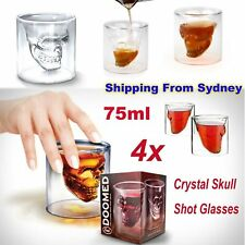 4x 3D Crystal Skull Head Vodka Shot Whiskey Wine Beer Tea Glass Drinking Cup V2