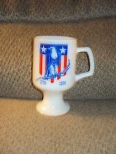 "VINTAGE MILK GLASS FOOTED MUG-1976 BICENTENNIAL ""EAGLE""-NICE MUG!"