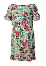 SARA LINDHOLM Blumen Kleid Gr. 44 grün bunt Carmenkleid Jerseykleid neu