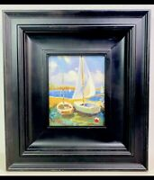Nautical Sail Boat Ship Claude-Marie Buford Signed Framed Oil On Canvas Beach