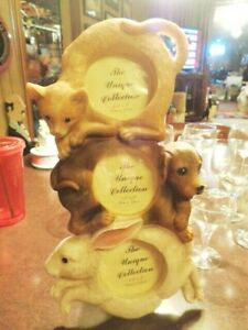 """The Unique Collection Triple  Picture Frame -Cat, Dog & Bunny   14 x 7""""     (72)"""