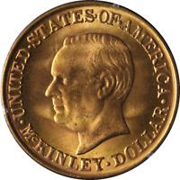 1917 McKinley Commemorative Gold $1 Rattler Holder PCGS MS63 Superb Eye Appeal