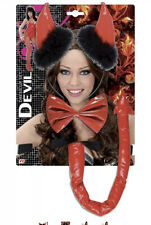 Devil Headband & Bow tie & Devil Tail - RED Halloween Satan Lucifer Fancy Dress